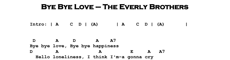 The Everly Brothers - Bye Bye Love Chords & Songsheet