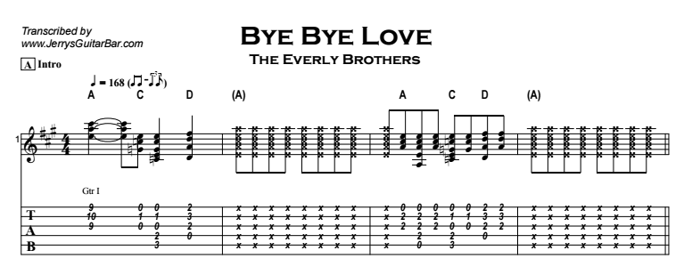 The Everly Brothers - Bye Bye Love Tab