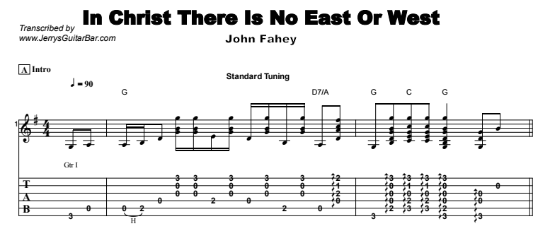 John Fahey - In Christ There Is No East or West Tab
