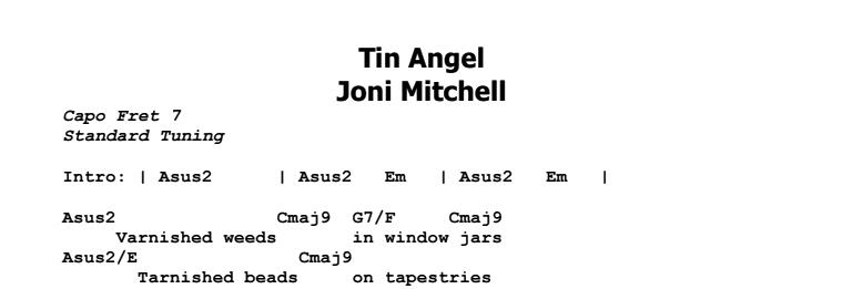 Joni Mitchell - Tin Angel Chords & Songsheet