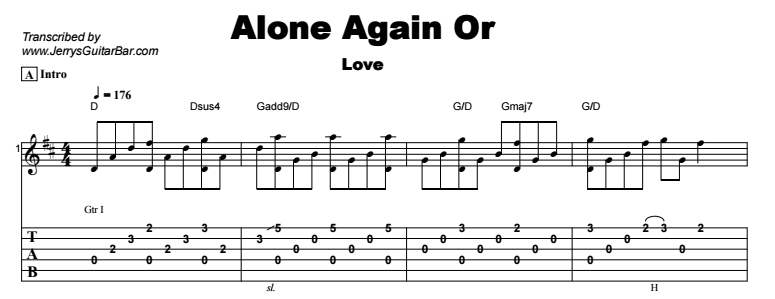 Love - Alone Again Or Tab