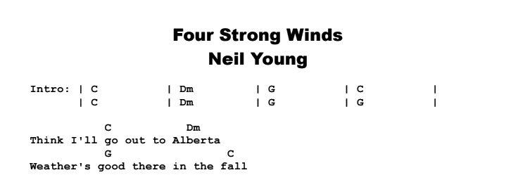 Neil Young - Four Strong Winds Chords & Songsheet