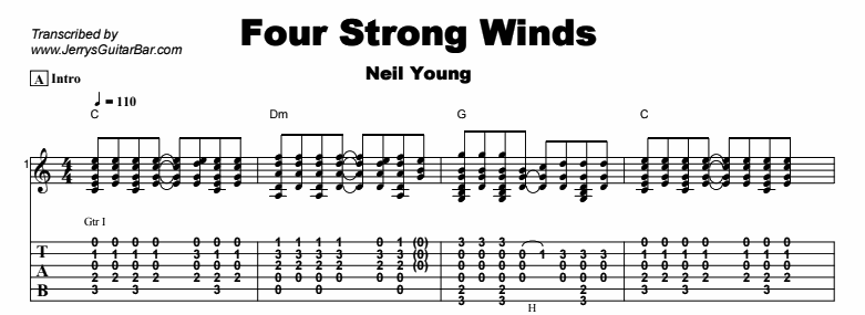 Neil Young - Four Strong Winds Tab