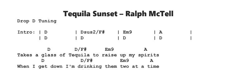 Ralph McTell - Tequila Sunset Chords & Songsheet