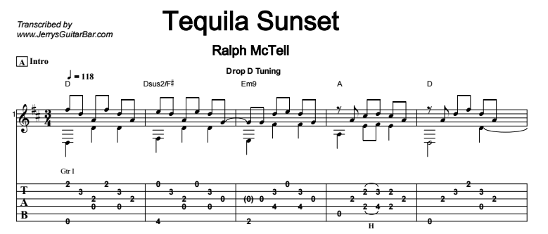 Ralph McTell - Tequila Sunset - Guitar Lesson by Jerry\'s Guitar Bar