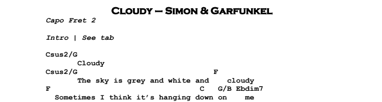 Simon & Garfunkel – Cloudy Chords & Songsheet