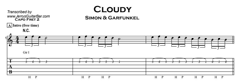 Simon & Garfunkel – Cloudy Tab