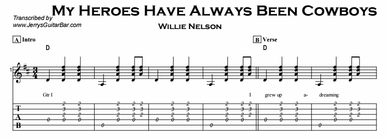 Willie Nelson - My Heroes Have Always Been Cowboys Tab