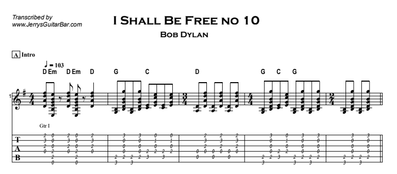 Bob Dylan – I Shall Be Free no 10 Tab