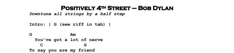 Bob Dylan – Positively 4th Street Chords & Songsheet