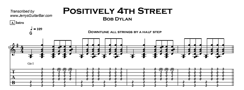 Bob Dylan – Positively 4th Street Tab