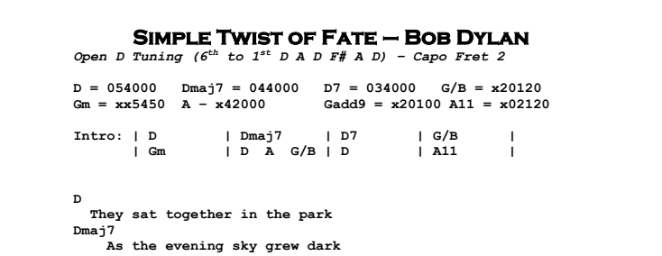Bob Dylan - Simple Twist of Fate Chords & Songsheet