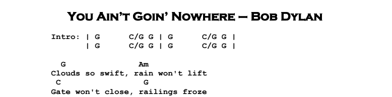 Bob Dylan – You Ain't Goin' Nowhere Chords & Songsheet