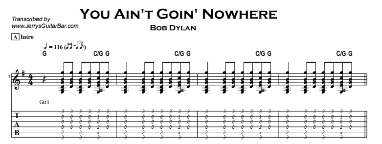 Bob Dylan – You Ain't Goin' Nowhere Tab