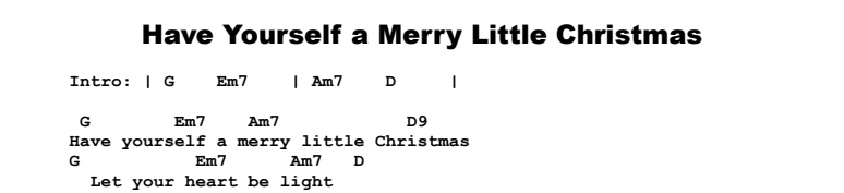 christmas songs have yourself a merry little christmas chords songsheet - Have Yourself A Merry Little Christmas Chords