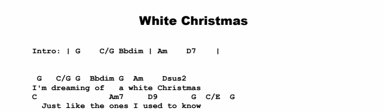 Christmas Songs - White Christmas Chords & Songsheet