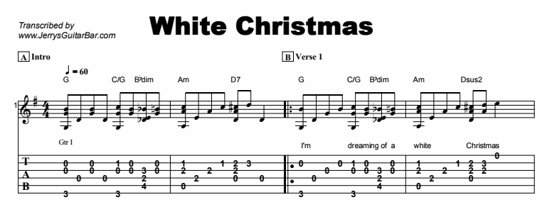 christmas songs white christmas tab - White Christmas Song