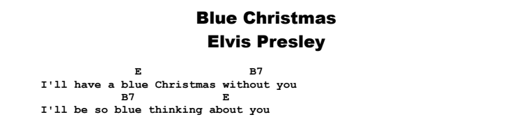 Elvis Presley - Blue Christmas Chords & Songsheet
