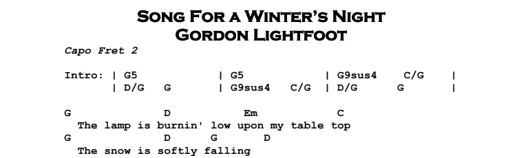 Gordon Lightfoot – Song For a Winter's Night Chords & Songsheet