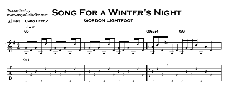 Gordon Lightfoot – Song For a Winter's Night Tab