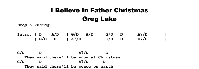 Greg Lake - I Believe In Father Christmas Chords & Songsheet