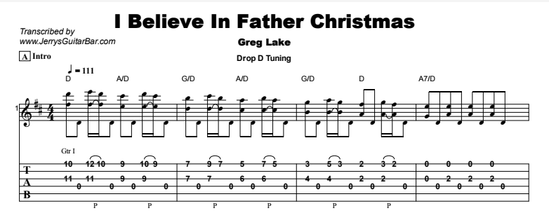 Greg Lake - I Believe In Father Christmas Tab