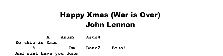 John Lennon - Happy Xmas (War is Over) Chords & Songsheet