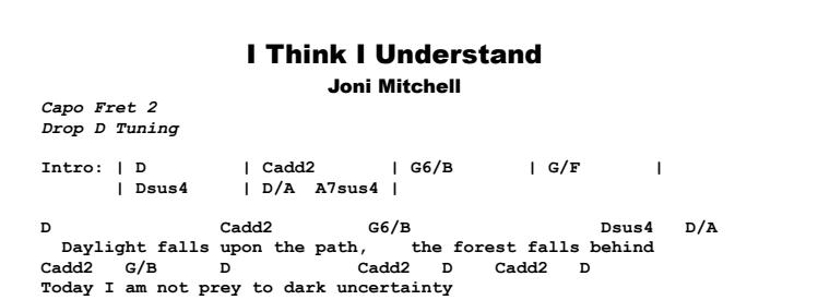 Joni Mitchell - I Think I Understand Chords & Songsheet