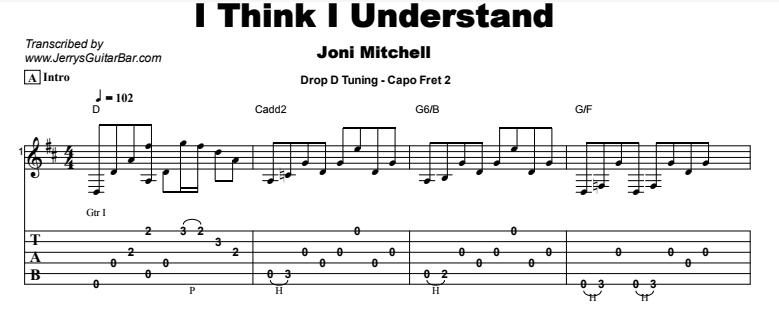 Joni Mitchell - I Think I Understand Tab