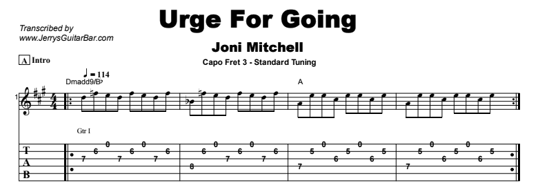 Joni Mitchell - Urge For Going Tab