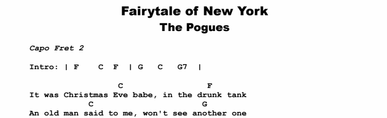 The Pogues - Fairytale of New York Chords & Songsheet