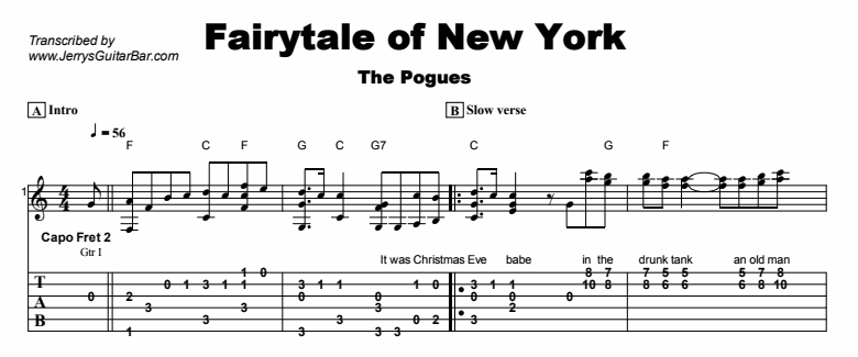 The Pogues - Fairytale of New York Tab