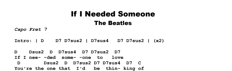 The Beatles - If I Needed Someone Songsheet & Chords