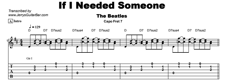 The Beatles - If I Needed Someone Tab