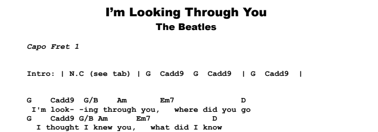 The Beatles - I'm Looking Through You Songsheet & Chords