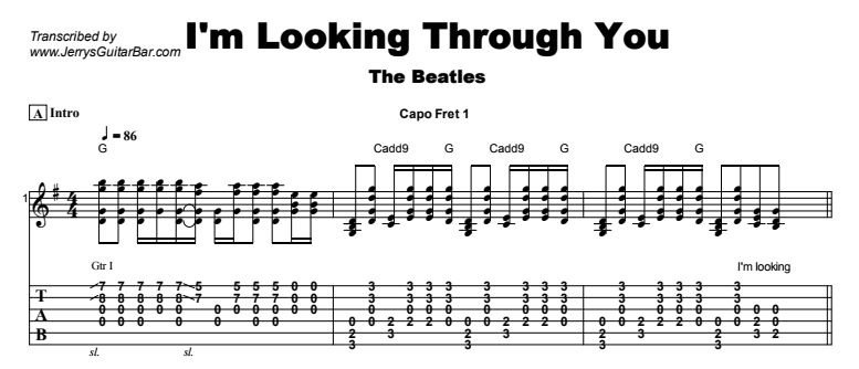 The Beatles - I'm Looking Through You Tab