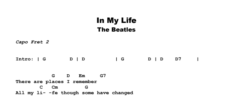 The Beatles - In My Life | Guitar Lesson, Tab & Chords | Jerry\'s ...