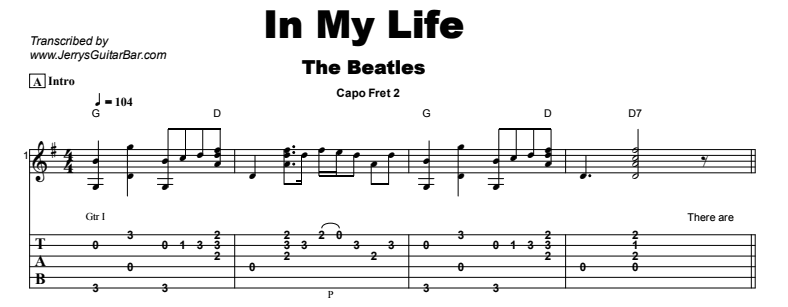 The Beatles - In My Life Tab