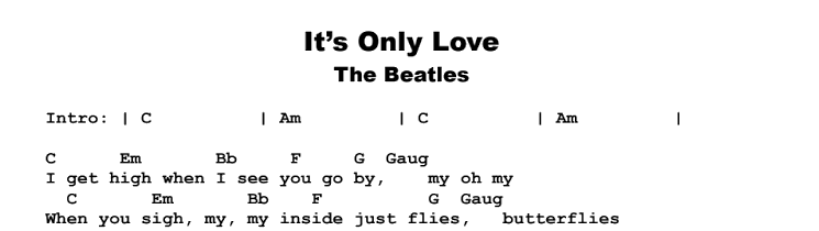 The Beatles - It's Only Love Songsheet & Chords