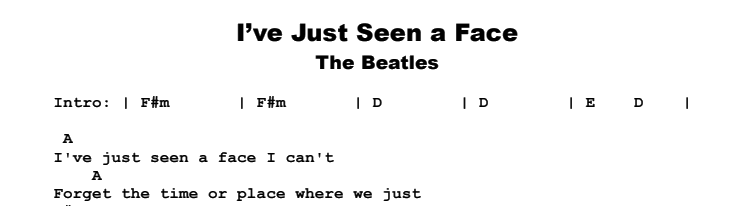 The Beatles - I've Just Seen a Face Songsheet & Chords
