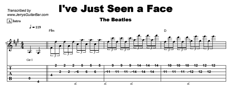 The Beatles - I've Just Seen a Face Tab