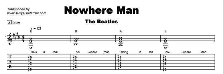 The Beatles - Nowhere Man Tab