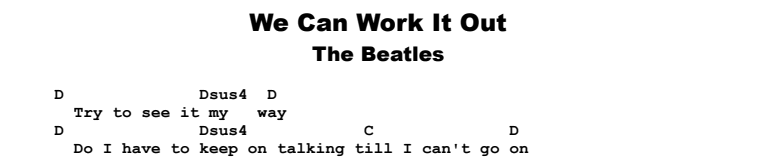 The Beatles - We Can Work It Out Songsheet & Chords
