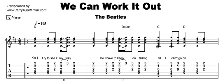 The Beatles - We Can Work It Out Tab