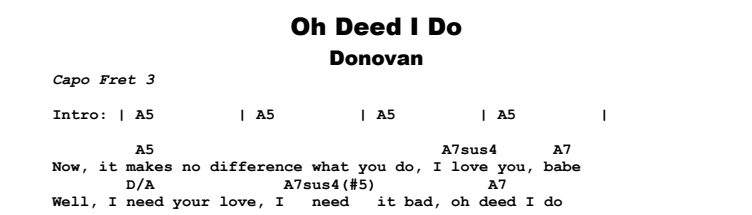 Donovan - Oh Deed I Do Chords & Songsheet