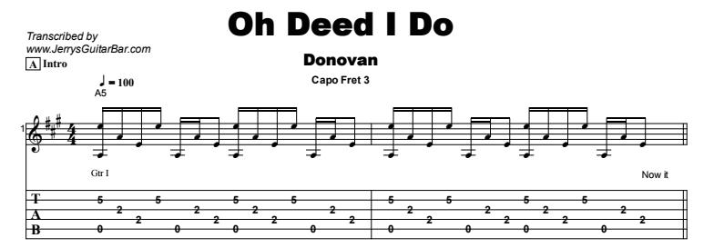 Donovan - Oh Deed I Do Tab