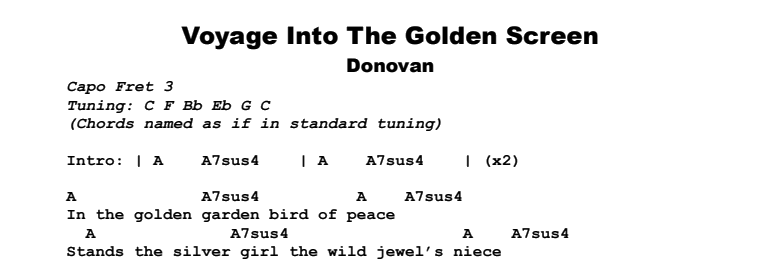 Donovan - Voyage Into The Golden Screen Chords & Songsheet
