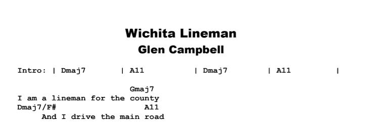 Glen Campbell - Wichita Lineman Chords & Songsheet