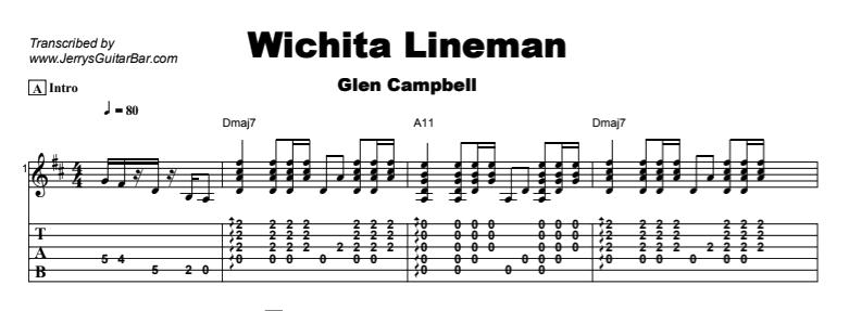 Glen Campbell Wichita Lineman Guitar Lesson By Jerrys Guitar Bar