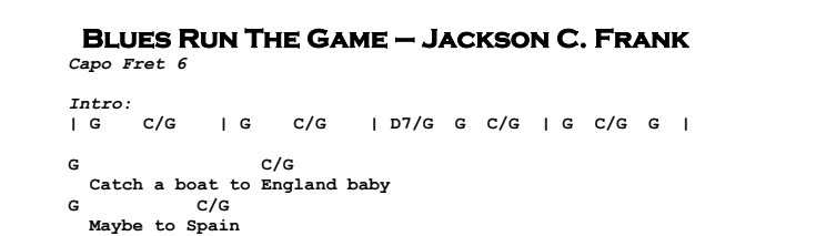 Jackson C Frank – Blues Run The Game Chords & Songsheet